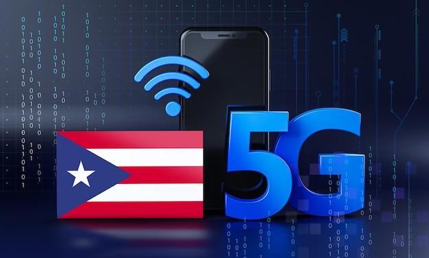 Puerto rico bereit für 5g-verbindungskonzept. hintergrund der 3d-rendering-smartphone-technologie