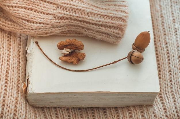 Pullover umarmt das buch. auf dem buch dekor eichel. lesen, ausruhen. gemütliches herbst- oder winterkonzept.
