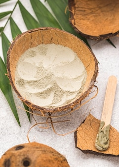 Pulver in kokosnussschale mit blättern