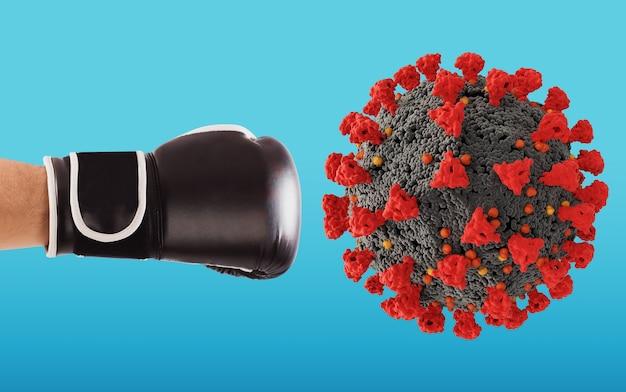 Punsch mit boxhandschuh trifft das virus auf cyanfarbenem hintergrund