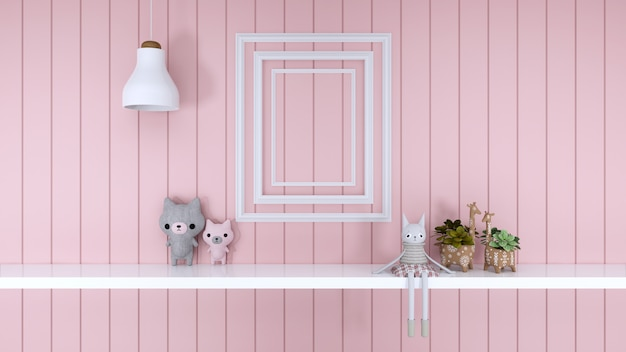Puppe mit rosa raum