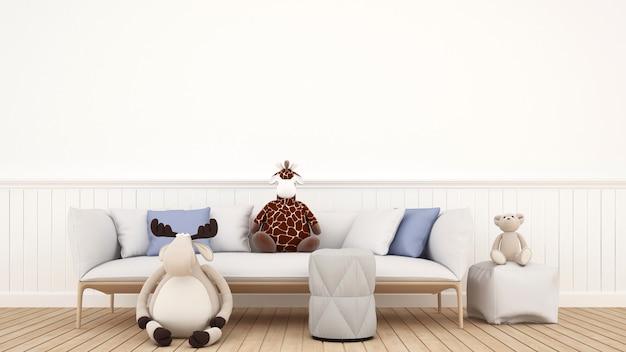 Puppenrenbär und -giraffe im kinderraum oder im wohnzimmer - wiedergabe 3d