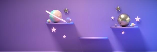 Purple shelf und stars sphere planet für produktwerbung und kommerzielles 3d-rendering.