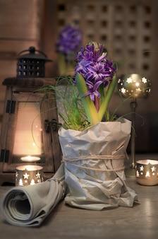 Purpurrote hyazinthe auf der weinleseküche beleuchtete mit kerzen