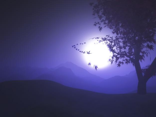 Purpurrote landschaft des sonnenuntergangs 3d mit den vögeln, die in den himmel fliegen