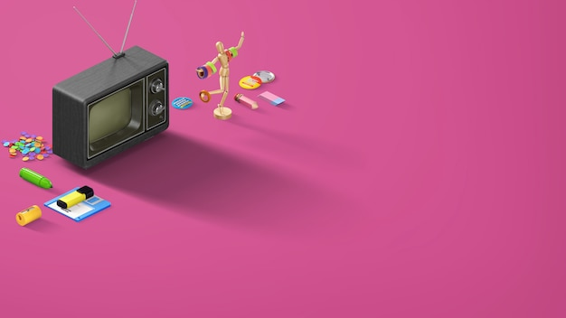 Purpurrote rosa retro- fahne mit stiftbleistift- und briefpapiereinzelteilen mit einem alten schwarzen fernsehapparat