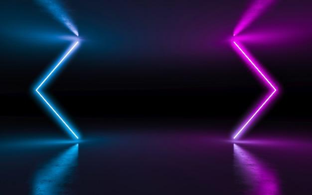 Purpurrote und blaue glühende neonlichter des abstrakten hintergrundes in der leeren dunkelkammer mit reflexion.