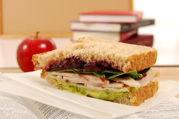 Putenbrust und moosbeeremarmelade sandwich für das mittagessen