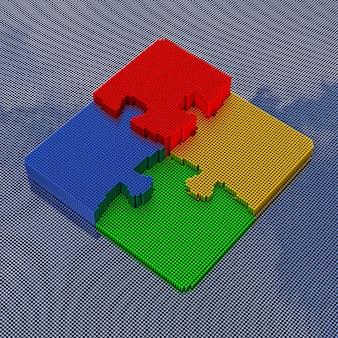 Puzzle im pixel-art-stil. 3d-rendering