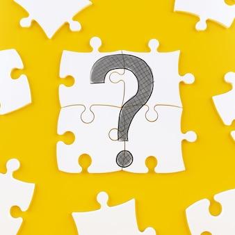 Puzzle-kacheln auf einem gelben hintergrund, der ein fragezeichen bildet