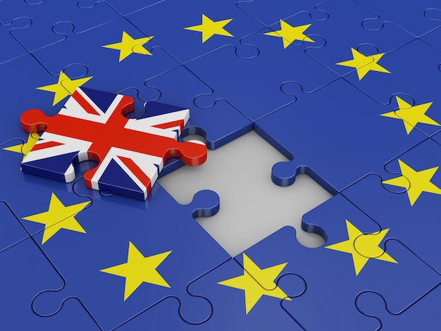 Puzzle mit einer flagge der europäischen union und des vereinigten königreichs