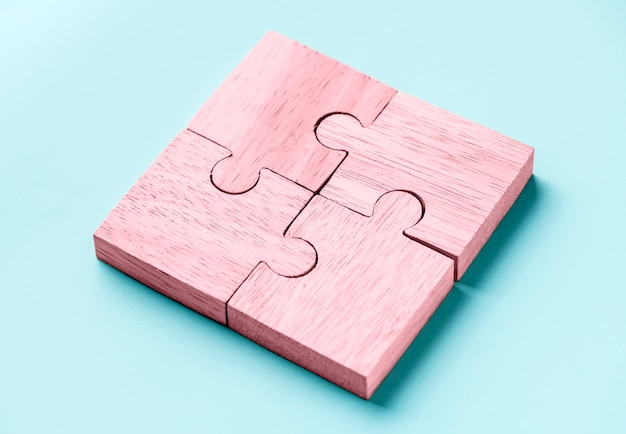 Puzzle-teamwork-konzept makroaufnahme