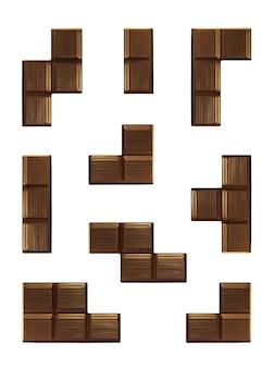 Puzzlespiel mit fallenden schokoladenstücken isoliert auf weißem hintergrund