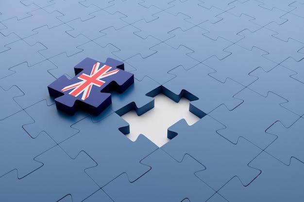 Puzzleteil der flagge des vereinigten königreichs vom rest der teile getrennt. konzept des brexit und der bruch des vereinigten königreichs mit der europäischen union. 3d-rendering.