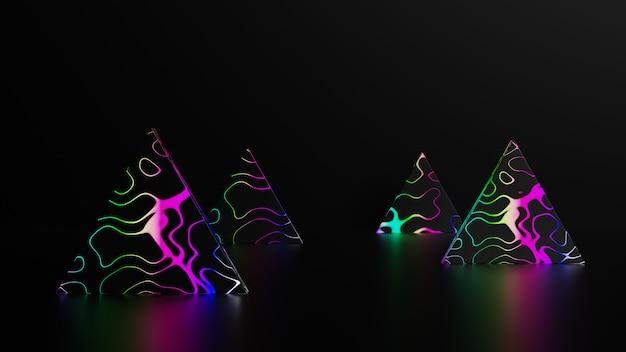 Pyramiden mit neonlichtern im dunkeln
