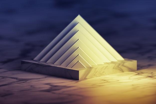 Pyramidenstruktur über podestpodest. abstrakte gegenstände mit marmorbeschaffenheit.