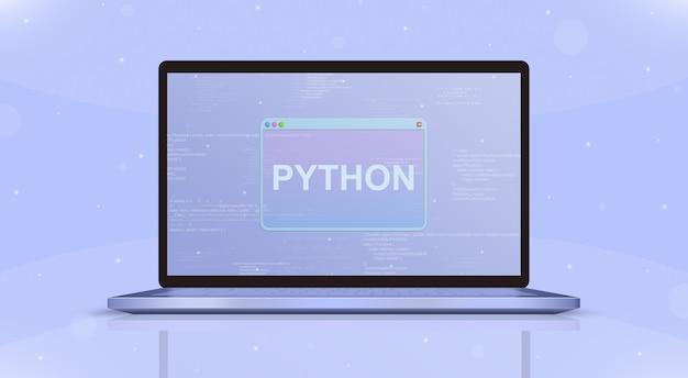 Python-symbol auf der vorderansicht des laptopbildschirms 3d