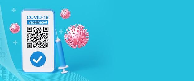 Qr-code über die impfung gegen die coronavirus-krankheit 3d-rendering-illustration