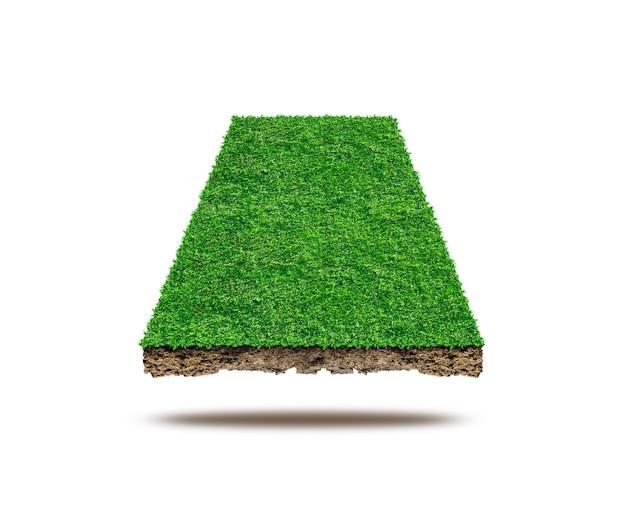Quadrat der grünen wiese auf weißem hintergrund, sportplatz.