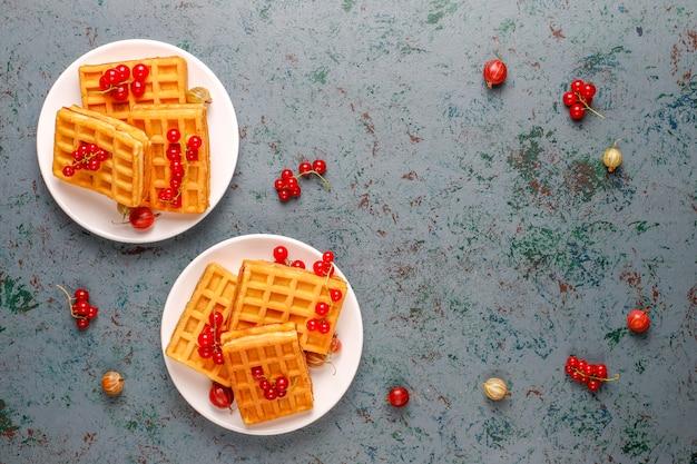 Quadratische belgische waffeln mit wollmispelfrüchten und honig.