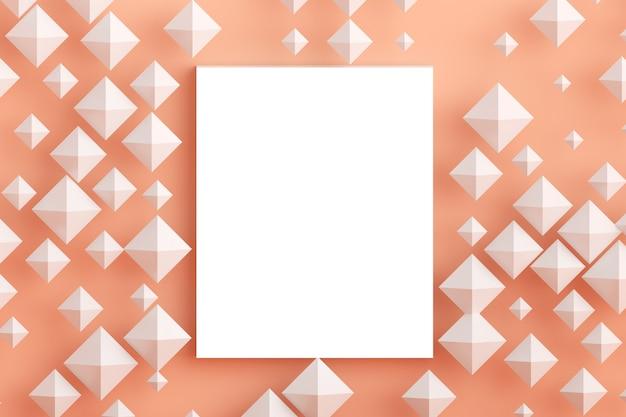 Quadratische flache laienkonzept-draufsicht des leeren rahmenmodells und des pastellfarbenen tausendjährigen rosas