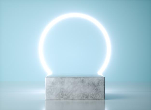Quadratische form der produktanzeige mit modernen und eleganten konzepten. neonlicht über marmorsockel. 3d rendern