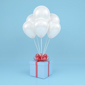 Quadratische geschenkbox mit luftballon und rotem band in der luft fliegen