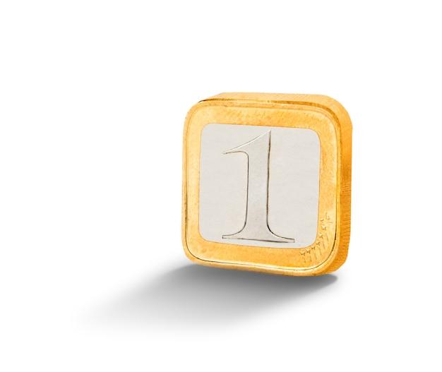 Quadratische münze isoliert auf weiß