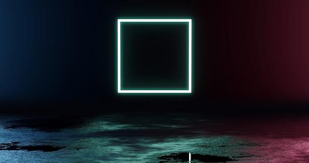 Quadratische neonlicht-produkthintergrundbühne oder podest auf grunge-straßenboden mit glühscheinwerfer und leerer anzeigeplattform. 3d-rendering.