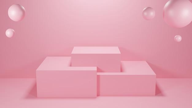 Quadratische pastellfarbe in podiumrosa mit drei rängen und kugeln. 3d-rendering-illustration.