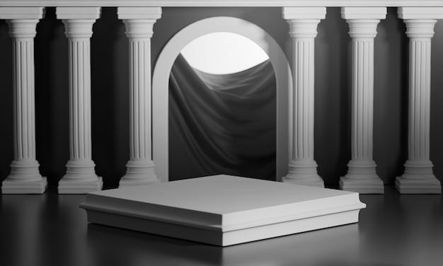 Quadratische podien bright shining black door klassische säulensäulen colonade 3d-rendering