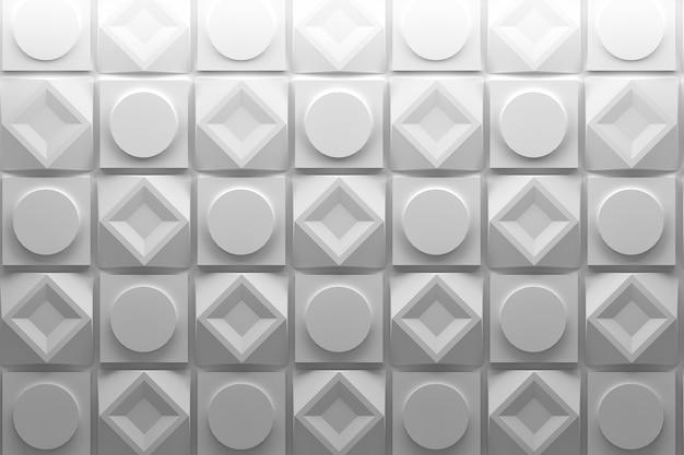 Quadratische und runde sich wiederholende weiße formen
