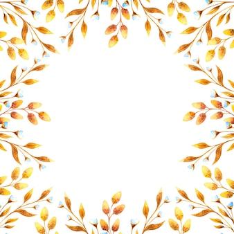 Quadratischer aquarellrahmen mit goldenen blumenzweigen und weidenzweigen, getrocknete blumen auf einem weißen hintergrund