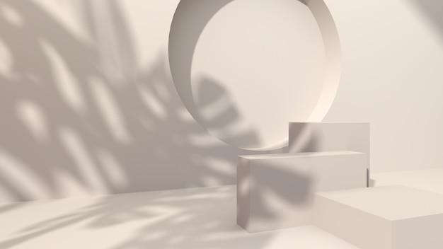 Quadratischer beton auf cremefarbenem abstraktem hintergrund stanzen sie ein rundes loch, das mit dem schatten der monstera-blätter verziert ist. zur präsentation kosmetischer produkte. 3d-rendering