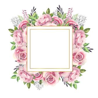 Quadratischer goldrahmen mit aquarellblumen