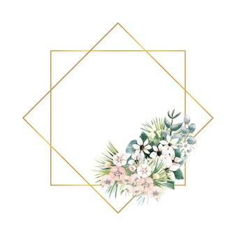 Quadratischer goldrahmen mit kleinen blüten aus actinidia, bouvardia, tropischen und palmblättern