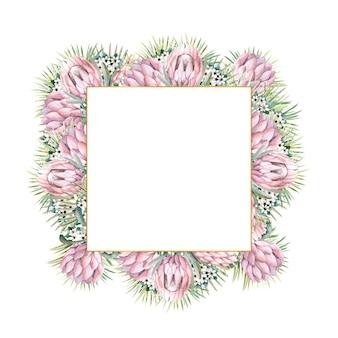Quadratischer goldrahmen mit protea-blüten