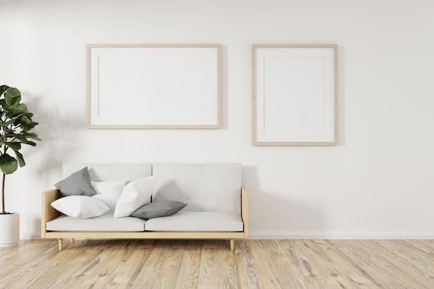 Quadratischer holzrahmen verspotten mit sofa und grünen pflanzen auf weißer wand im wohnzimmer