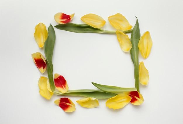 Quadratischer rahmen aus blütenblättern