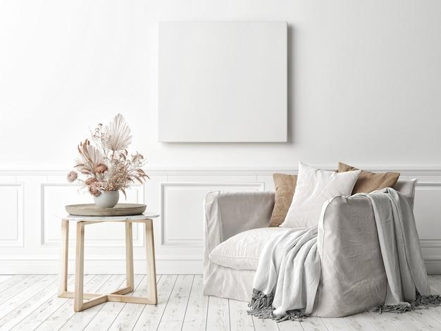 Quadratischer rahmen des modellplakats an der wand im wohnzimmerinnenraum mit sessel, 3d-rendering, 3d-illustration