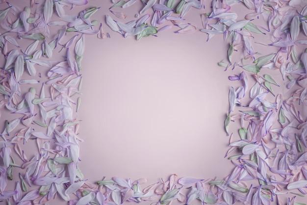 Quadratischer rahmen des sommerfrühlings mit blütenblättern in fliederschattierungen, auf einem cremefarbenen rosa lila matten hintergrund.