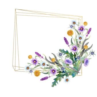 Quadratischer rahmen mit aquarellwildblumen
