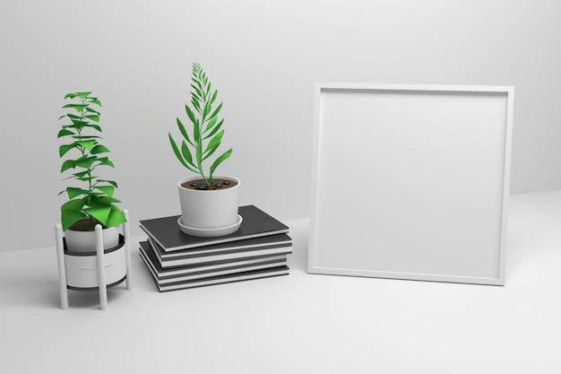 Quadratischer rahmen mit büchern und topfpflanzen