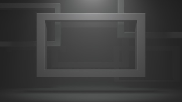 Quadratischer schwarzer rahmen für foto, bild. realistischer rahmen mit reflexion auf dunklem hintergrund.