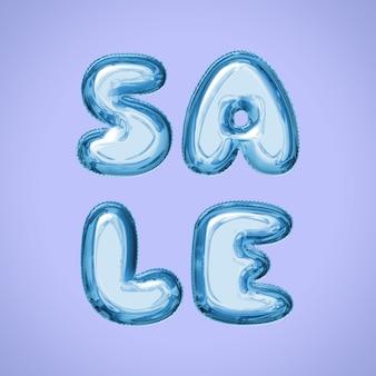 Quadratischer social media-beitrag des verkaufs mit wasserballonbuchstaben in der blauen farbe