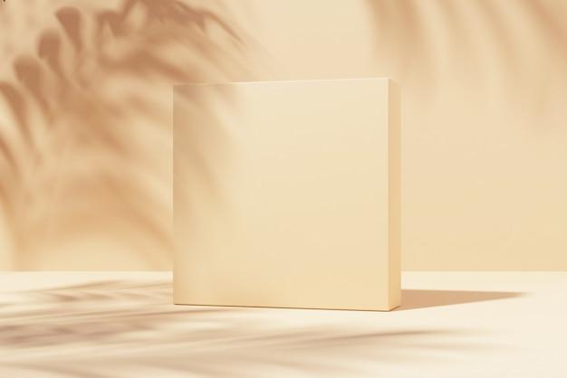 Quadratischer ständer auf pastellhellem stuckhintergrund mit pflanzen und schatten an der wand