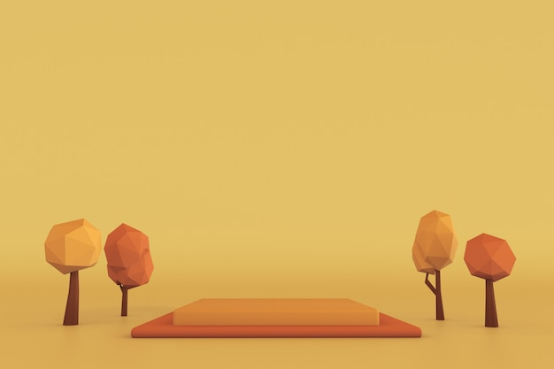 Quadratisches 3d-podium mit herbstbäumen sockel für hautpflegeprodukte auf gelbem und orangefarbenem hintergrund Premium Fotos