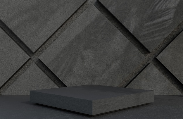 Quadratisches podium aus schwarzem stein für die produktpräsentation auf steinmauerhintergrund im luxusstil., 3d-modell und illustration.