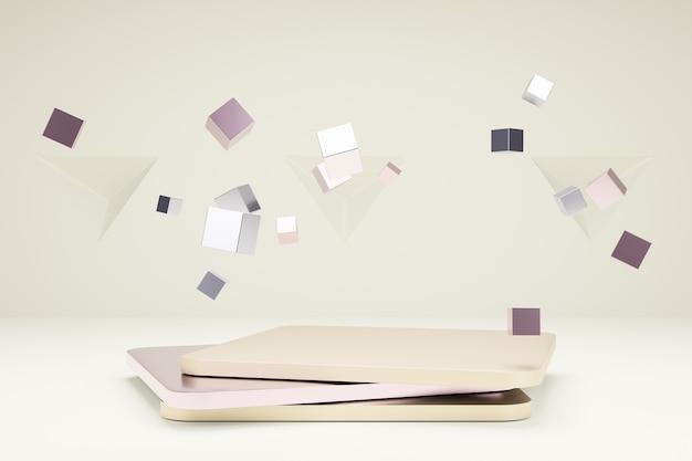 Quadratisches podium für produktpräsentation mit metallischen würfeln 3d-rendering-szene in ruhigen pastellfarben