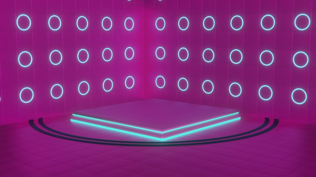 Quadratisches podium mit blauen neonlichtern. produktpräsentation. 3d-rendering